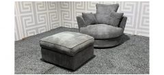 Grey Fabric Swivel Chair with Footstool Ex-Display Showroom Model 47688