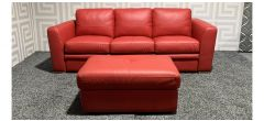 Red Leather 3 Seater Sofa Bed + Storage Footstool (Bed Depth 210cm) - Few Scuffs (see images) Ex-Display Showroom Model 47693