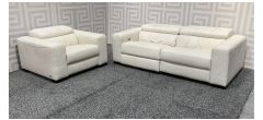 Marinelli Cream Semi Aniline Full Leather 3 + 1 Electric Recliners With Wooden Legs - Few Marks (see images) Ex-Display Showroom Model 47853