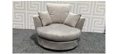 Mink Velvet Swivel Chair With Scatter Back Cushions - Few Scuffs (see images) Ex-Display Showroom Model 47855