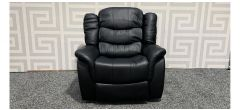 Black Bonded Leather Armchair Manual Recliner - Few Small Scratches (see images) Ex-Display Showroom Model 47861