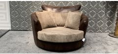 Brown And Beige XL Fabric Swivel Chair With Scatter Cushions Ex-Display Showroom Model 47864