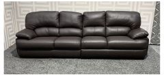 Brown Large 5 Seater Leather Sofa - Left And Right Side Mismatch And Feet Mixture (see images) Ex-Display Showroom Model 47866