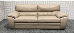 Beige Large Leather Sofa Sisi Italia Semi-Aniline With Wooden Legs - Tears And Marks (see images) Ex-Display Showroom Model 47869