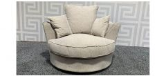 Beige Fabric Swivel Chair With Scatter Cushions - Both Arms Dented With Few Marks (see images) Ex-Display Showroom Model 48167