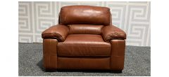 Majori Tan Leather Armchair Sisi Italia Semi-Aniline With Wooden Legs - Few Scuffs (see images) Ex-Display Showroom Model 48173