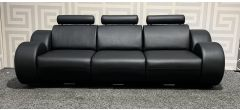 Sicily Black Bonded Leather Large Sofa With Hearests And Chrome Legs Ex-Display Showroom Model 48181