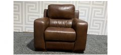 Lucca Brown Leather Armchair Electric Recliner Sisi Italia Semi-Aniline With Wooden Legs - Few Scuffs (see images) Ex-Display Showroom Model 48182