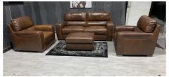 Lucca Brown Leather 3 + 3 + 1 + Footstool Sisi Italia Semi-Aniline With Wooden Legs And Contrast Stitching - Few Scuffs (see images) Ex-Display Showroom Model 48185