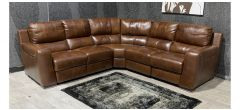 Lucca Brown Leather Corner + 1 Electric Armchair + 1 Static Armchair - Sisi Italia Semi-Aniline With Wooden Legs Ex-Display Showroom Model 48186