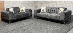 Chanel Grey Fabric 3 + 2 Sofa Set With Chrome Legs And Scatter Cushions - Slight Scratches (see images) Ex-Display Showroom Model 48373
