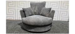 Grey Jumbo Cord Fabric Swivel Chair - Left Arm Broken Frame And Loose (see images) Ex-Display Showroom Model 48374