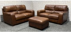 Lucca Brown Leather 2 + 2 + Footstool Sisi Italia Semi-Aniline With Wooden Legs - Colour Faded And Left Arm Dented (see images) Ex-Display Showroom Model 48381