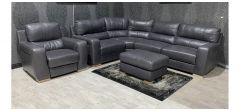 Lucca Grey LHF Static Leather Corner + Electric Armchair + Footstool(w80 d60 h40cm) Sisi Italia Semi-Aniline With Wooden Legs Ex-Display Showroom Model 48387