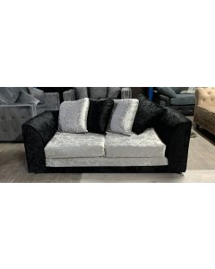 Bella Fabric Sofa 2 Seater Black And Silver Ex-Display Showroom Model 46561