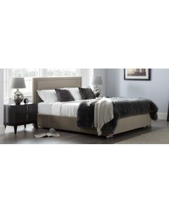Berlin Bed Frame King 5FT Putty With Side Ottoman Storage