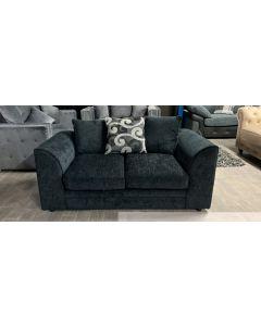 Dark Blue 2 Seater Fabric Sofa Ex-Display Showroom Model 46556