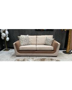 Boyant Fabric Sofa 3 Seater Cream With Wooden Legs Ex-Display Showroom Model 46791