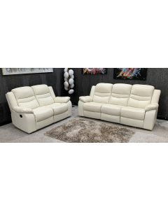 Contour Recliner Leather Sofa Set 3 + 2 Seater Used Ex-Display Showroom Model 46796, 3 seater tear under left arm, Tears on front and back of right arm, plus other scuffs (see images)