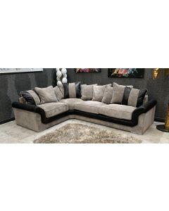 Fabric Corner Sofa LHF Mink And Black Ex-Display Showroom Model 46793