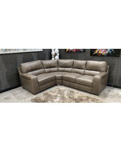 Lucca Semi Aniline Leather Corner Sofa LHF Brown Sisi-Italia Ex-Display Showroom Model 46797