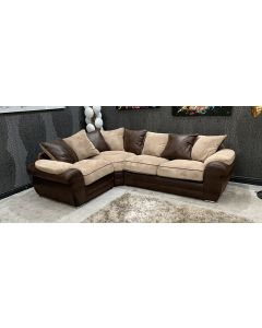 Lux Fabric Corner Sofa LHF Brown And Coffee Ex-Display Showroom Model 46792
