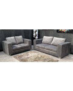 Nero Fabric Sofa Set 3 + 2 Seater Grey Chrome Legs Ex-Display Showroom Model 46790