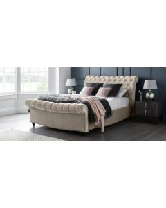 Paris Bed Frame Double 4FT6 Putty With Side Ottoman Storage